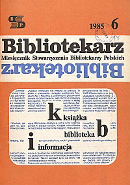 Okładka Bibliotekarz 1985, nr 6