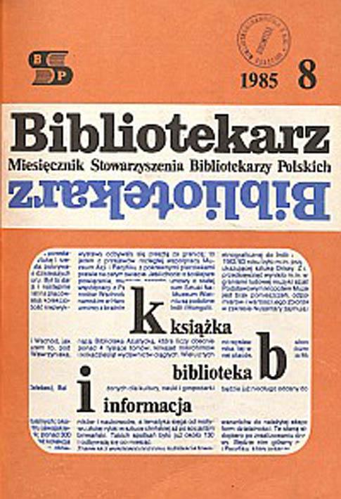 Okładka Bibliotekarz 1985, nr 8