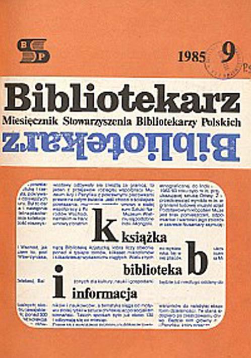 Okładka Bibliotekarz 1985, nr 9