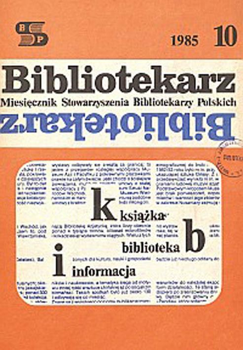 Okładka Bibliotekarz 1985, nr 10