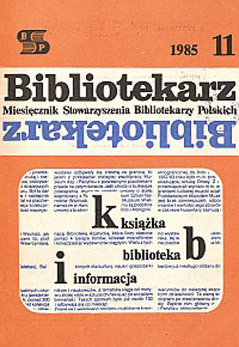 Okładka Bibliotekarz 1985, nr 11