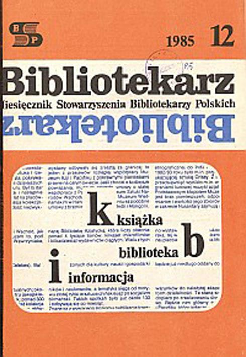 Okładka Bibliotekarz 1985, nr 12
