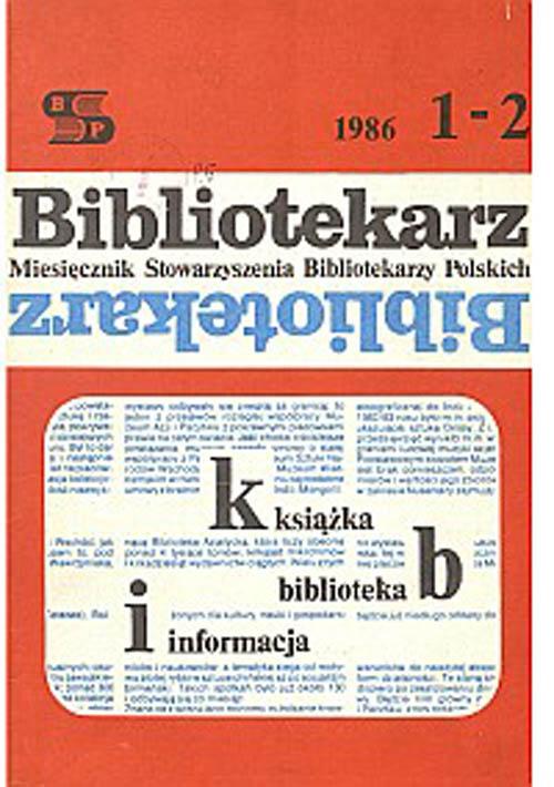 Okładka Bibliotekarz 1986, nr 1-2