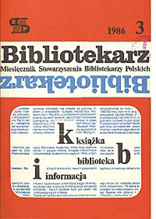 Okładka Bibliotekarz 1986, nr 3
