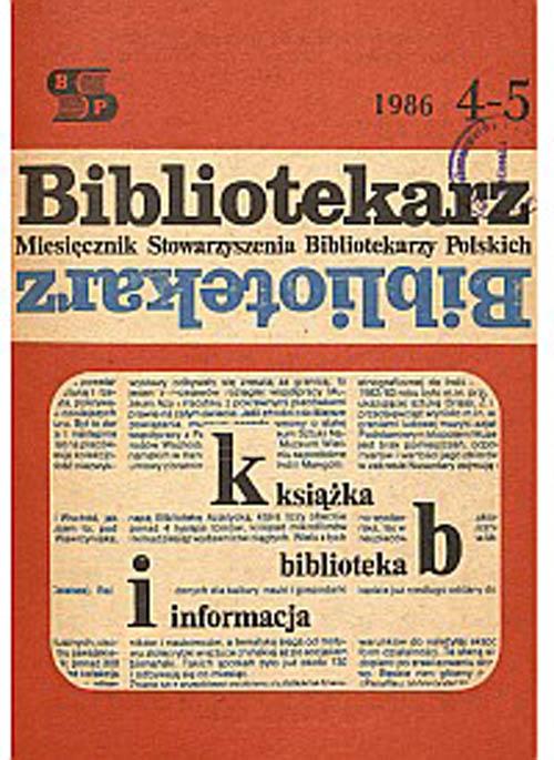 Okładka Bibliotekarz 1986, nr 4-5