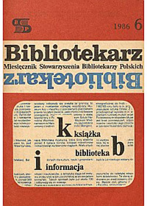 Okładka Bibliotekarz 1986, nr 6