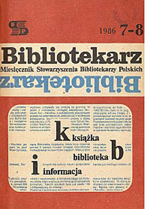 Okładka Bibliotekarz 1986, nr 7-8