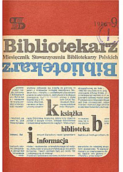 Okładka Bibliotekarz 1986, nr 9