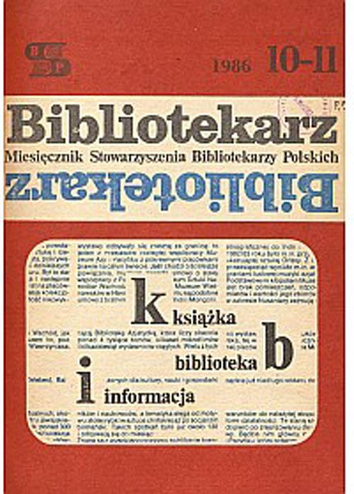 Okładka Bibliotekarz 1986, nr 10-11