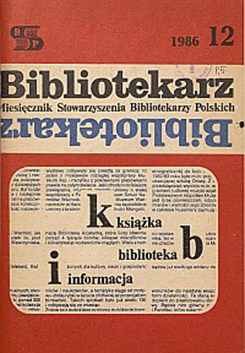 Okładka Bibliotekarz 1986, nr 12