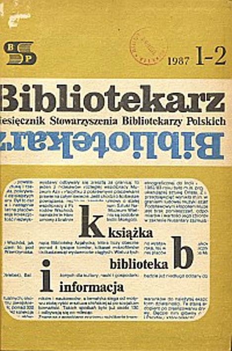 Okładka Bibliotekarz 1987, nr 1-2