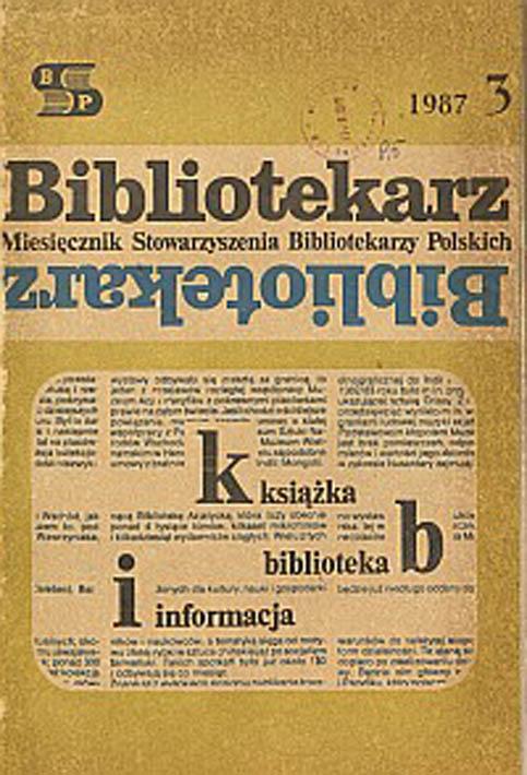 Okładka Bibliotekarz 1987, nr 3