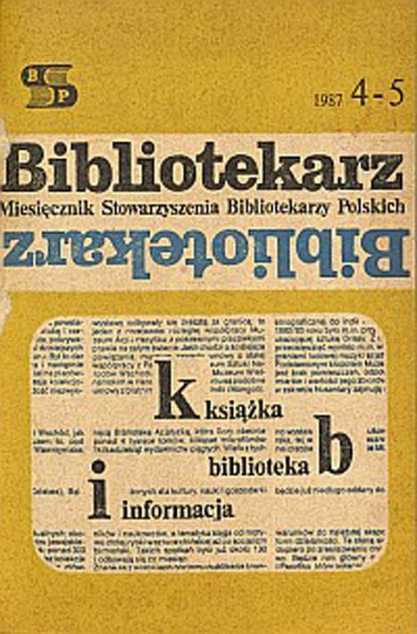 Okładka Bibliotekarz 1987, nr 4-5