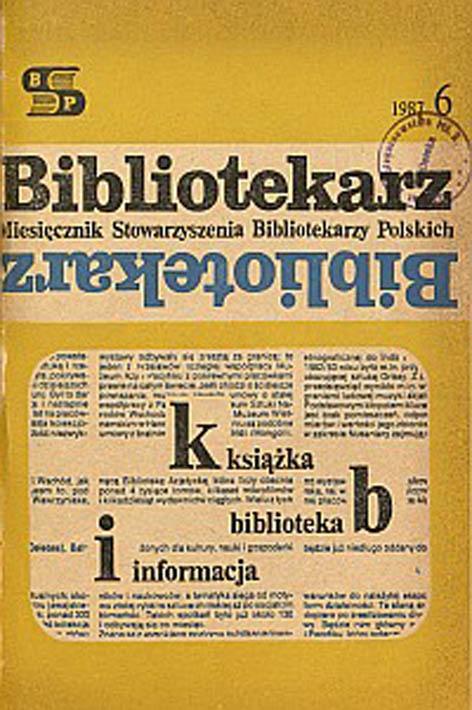 Okładka Bibliotekarz 1987, nr 6