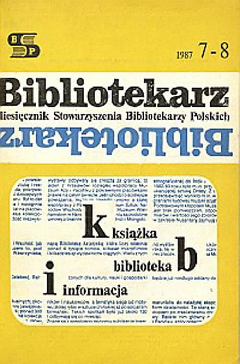 Okładka Bibliotekarz 1987, nr 7-8