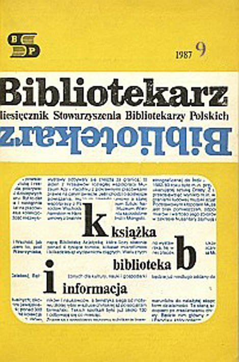 Okładka Bibliotekarz 1987, nr 9