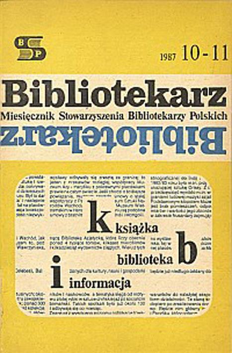 Okładka Bibliotekarz 1987, nr 10-11