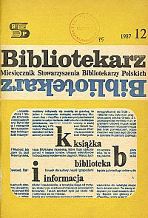 Okładka Bibliotekarz 1987, nr 12