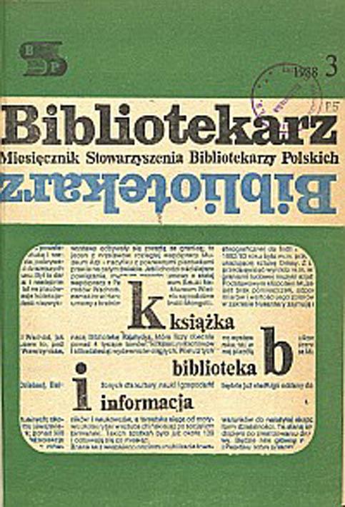 Okładka Bibliotekarz 1988, nr 3
