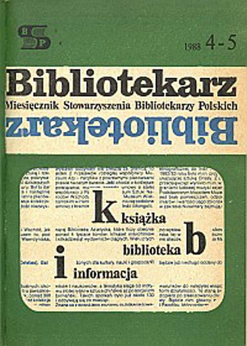Okładka Bibliotekarz 1988, nr 4-5