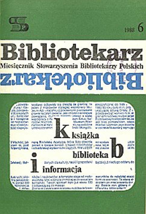 Okładka Bibliotekarz 1988, nr 6