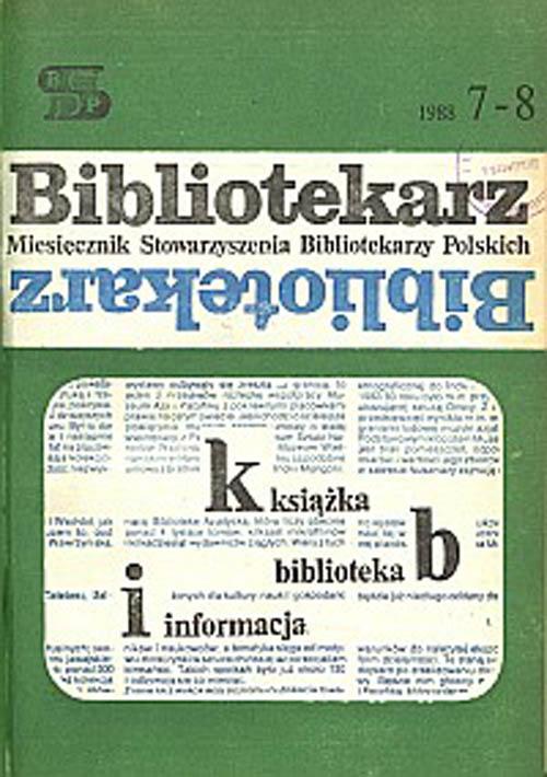 Okładka Bibliotekarz 1988, nr 7-8