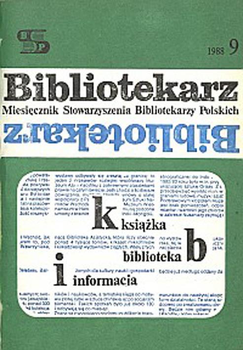 Okładka Bibliotekarz 1988, nr 9
