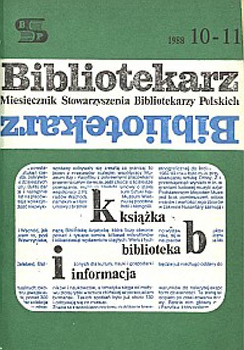 Okładka Bibliotekarz 1988, nr 10-11