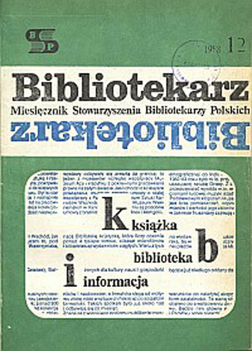 Okładka Bibliotekarz 1988, nr 12