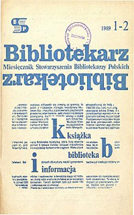 Okładka Bibliotekarz 1989, nr 1-2