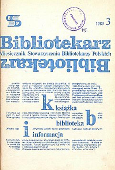 Okładka Bibliotekarz 1989, nr 3