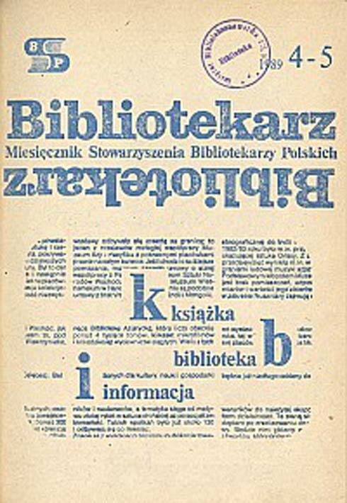 Okładka Bibliotekarz 1989, nr 4-5