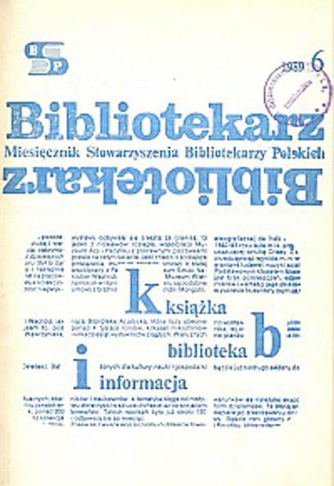 Okładka Bibliotekarz 1989, nr 6