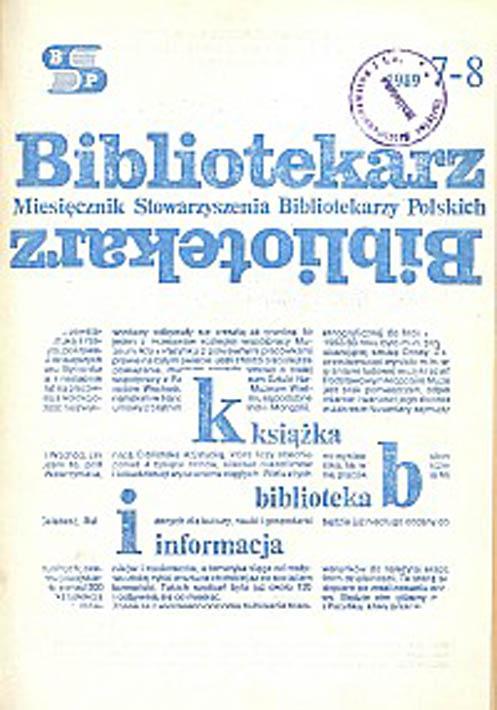 Okładka Bibliotekarz 1989, nr 7-8