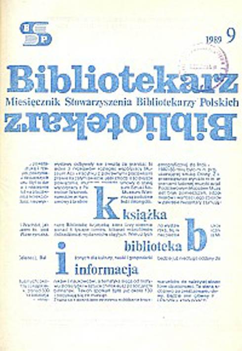 Okładka Bibliotekarz 1989, nr 9
