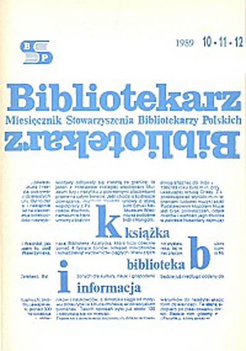 Okładka Bibliotekarz 1989, nr 10-12