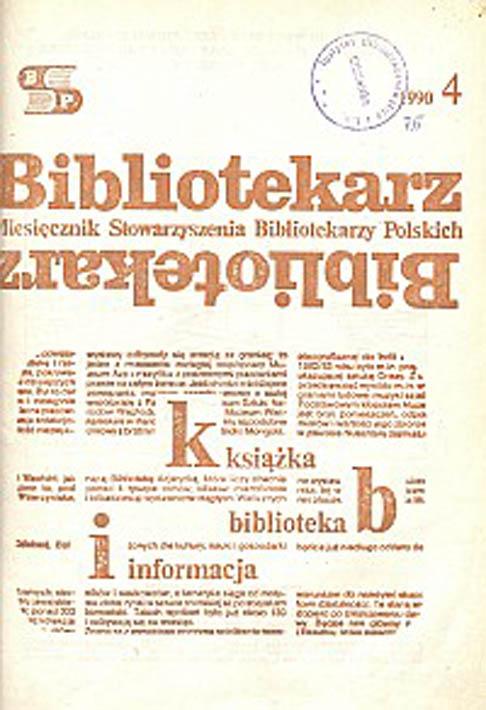 Okładka Bibliotekarz 1990, nr 4