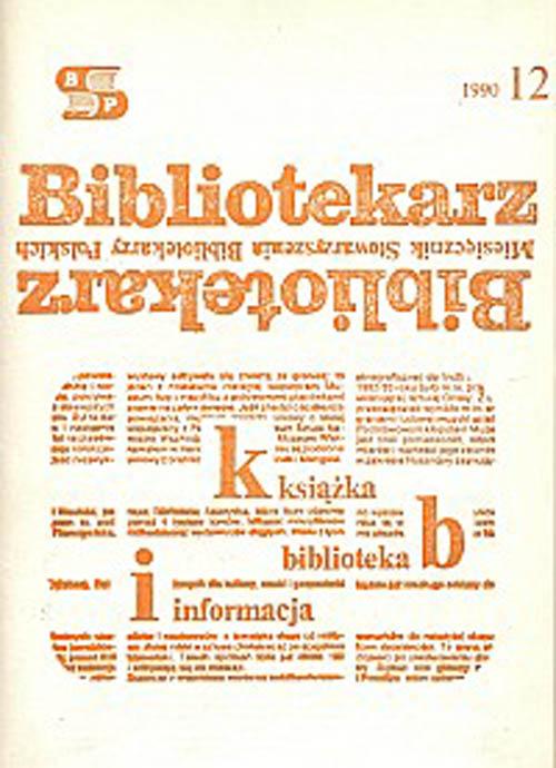 Okładka Bibliotekarz 1990, nr 12