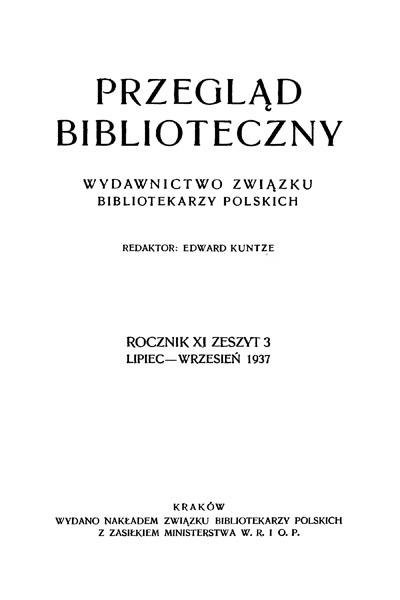 Przegląd Biblioteczny 1937, z. 3