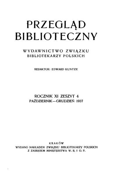 Okładka Przegląd Biblioteczny 1937, z. 4