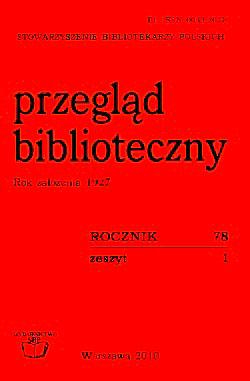 Przegląd Biblioteczny 2010, z. 1