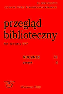 Okładka Przegląd Biblioteczny 2010, z. 2
