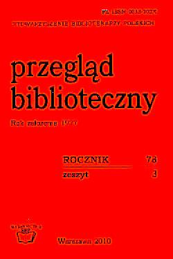 Okładka Przegląd Biblioteczny 2010, z. 3