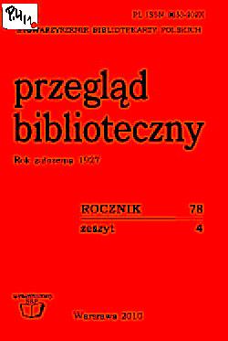 Okładka Przegląd Biblioteczny 2010, z. 4