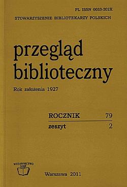 Okładka Przegląd Biblioteczny 2011, z. 2