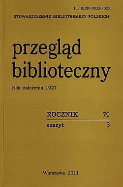 Okładka Przegląd Biblioteczny 2011, z. 3