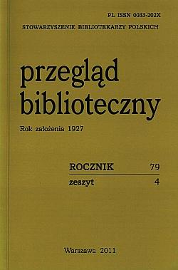 Okładka Przegląd Biblioteczny 2011, z. 4