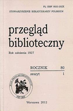 Okładka Przegląd Biblioteczny 2012, z. 1