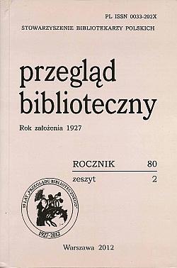 Okładka Przegląd Biblioteczny 2012, z. 2