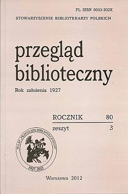 Okładka Przegląd Biblioteczny 2012, z. 3